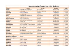 Sugestões bibliográficas por faixa etária - 0 a 2 anos - Arco-Iris