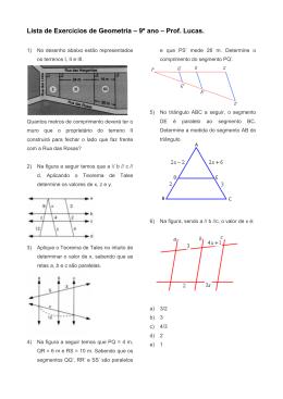 Lista de Exercícios de Geometria – 9º ano – Prof. Lucas.