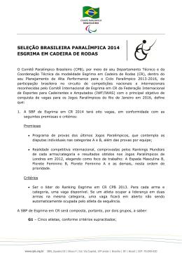seleção brasileira paralímpica 2014 esgrima em cadeira de rodas