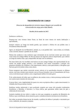 Discurso de despedida do ministro Jaques