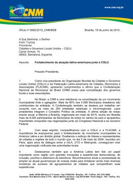 Ofício nº 0682/2015_CNM/BSB Brasília, 19 de junho de 2015. A Sua