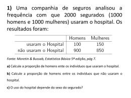 1) Uma companhia de seguros analisou a frequência com que 2000