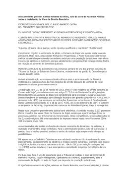Discurso feito pelo Dr. Carlos Roberto da Silva, Juiz da Vara da