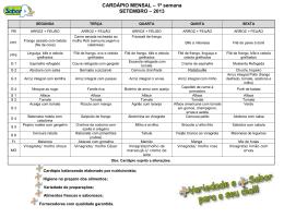 CARDÁPIO MENSAL – 1ª semana