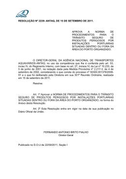 RESOLUÇÃO Nº 2239- ANTAQ, DE 15 DE SETEMBRO DE 2011