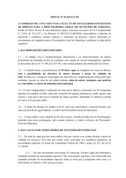 EDITAL Nº 01/2014-CCSE A COMISSÃO DE CONCURSO