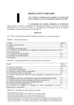 Resolução nº 10/05-CEPE - Universidade Federal do Paraná