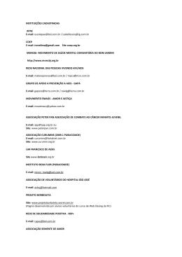 INSTITUIÇÕES CADASTRADAS APAE E