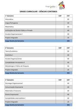 GRADE CURRICULAR - CIÊNCIAS CONTÁBEIS