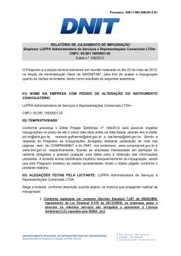 Relatório de Julgamento de Impugnação LUPPA