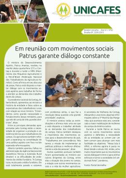 Em reunião com movimentos sociais Patrus garante