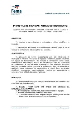 1ª MOSTRA DE CIÊNCIAS, ARTE E CONHECIMENTO.