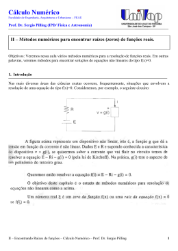 Métodos numéricos para encontrar raízes (zeros) de