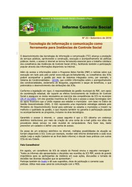 Informe Controle Social nº 23 - MINISTÉRIO DO Desenvolvimento