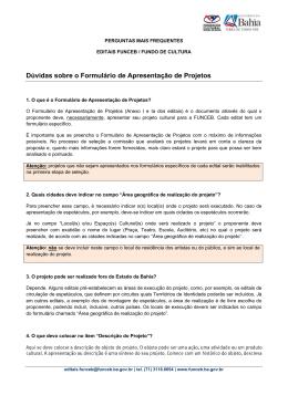 Orientações sobre Formulário de Apresentação de Projetos e