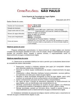 Dados Gerais do curso: - Fatec Carapicuíba