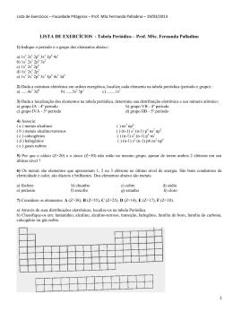 LISTA DE EXERCÍCIOS - Tabela Periódica – Prof