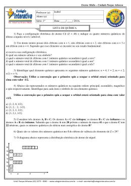 1) Faça a configuração eletrônica do átomo Cd (Z = 48) e indique os