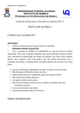 Prova de Química - TWiki - Universidade Federal da Bahia