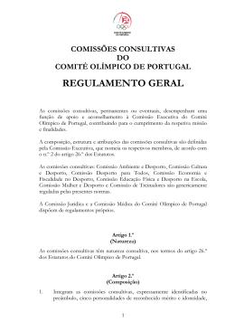Regulamento das Comissões Consultivas