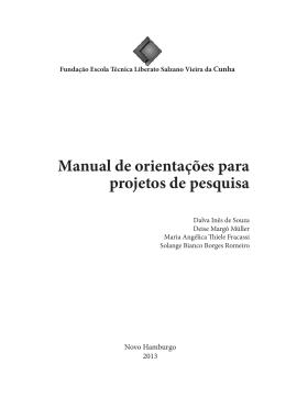 Manual de orientações para projetos de pesquisa