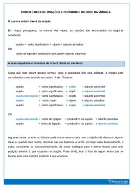 ORDEM DIRETA DE ORAÇÕES E PERÍODOS E OS USOS DA