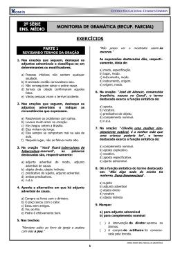 2ª série ens. médio monitoria de gramática (recup. parcial) exercícios