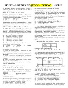 SINGELA LISTINHA DE QUIMICA (FERENC) 1º. SÉRIE