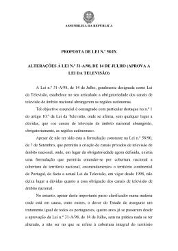 A Lei n.º 31-A/98, de - Assembleia da República