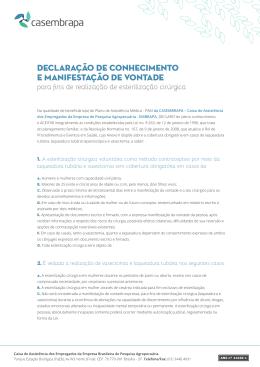 Declaração de Conhecimento sobre Procedimentos