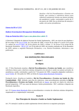 Resolução Normativa No. 00211 de 11 de janeiro de 2010
