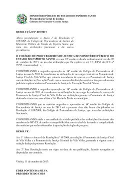 RESOLUÇÃO Nº 007/2013 Altera parcialmente