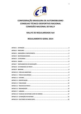 Rally de Regularidade 4x4 - Regulamento Geral - CBA