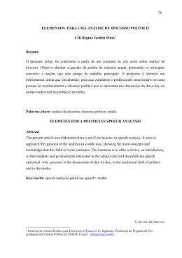 78 78 ELEMENTOS PARA UMA ANÁLISE DE DISCURSO