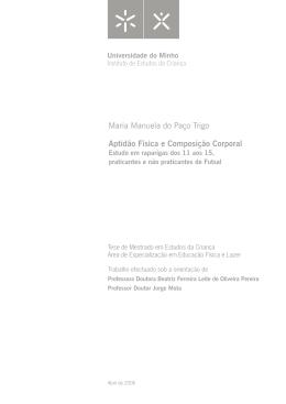 Maria Manuela do Paço Trigo Aptidão Física e Composição Corporal