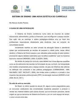 SISTEMA DE ENSINO: UMA NOVA ESTÉTICA DO CURRPICULO