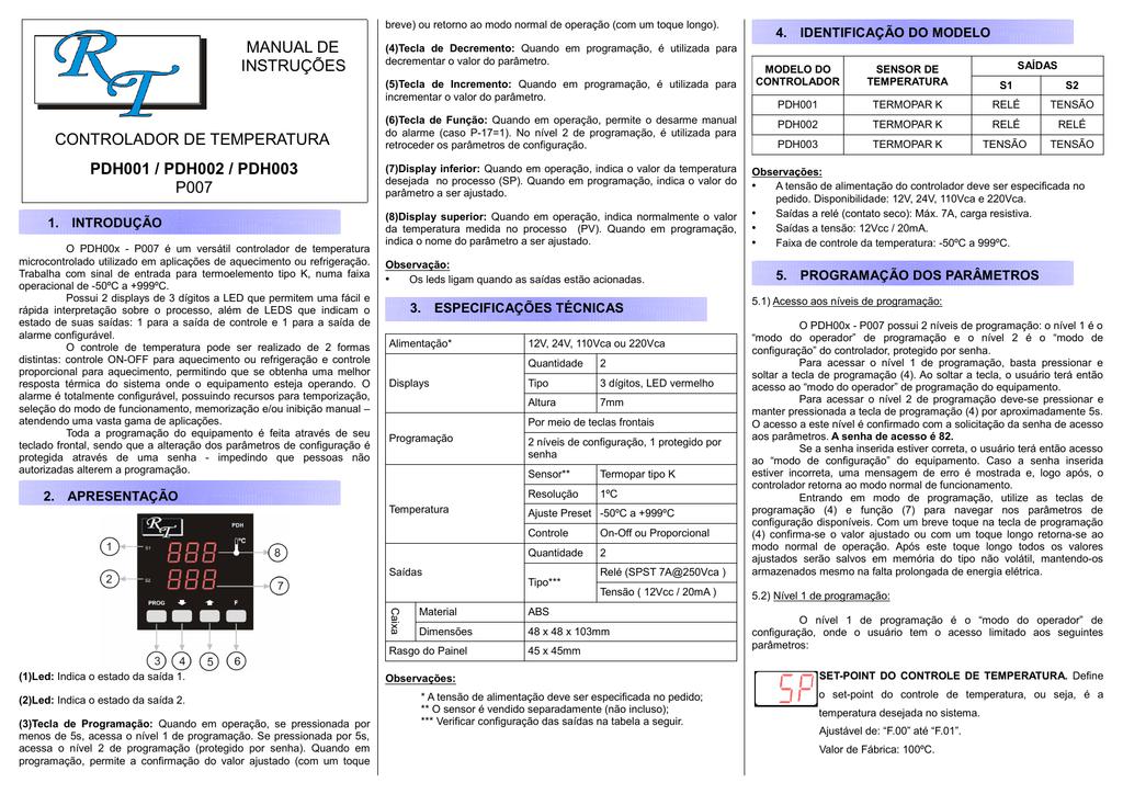dd97e2e2da482 manual de instruções controlador de temperatura pdh001   pdh002