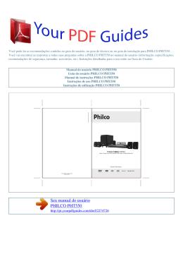 Manual de instruções PHILCO PHT550