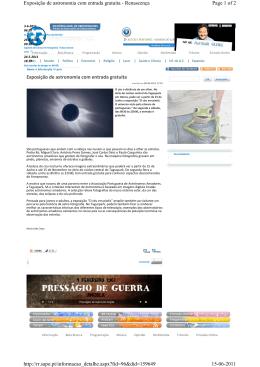 Page 1 of 2 Exposição de astronomia com entrada gratuita
