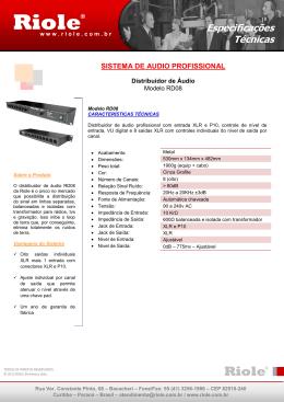 Especificação técnica Distribuidor de Áudio RD08