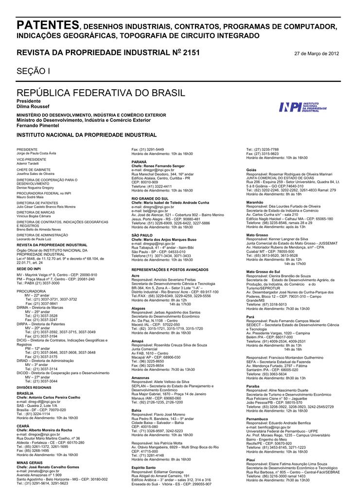 3590d67c6 DIRETORIA DE PATENTES - Revista da Propriedade Industrial
