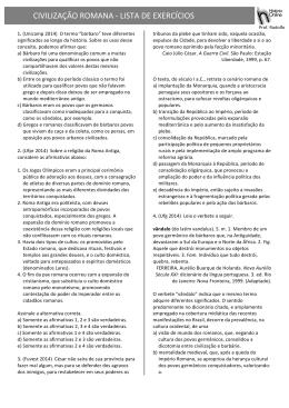 CIVILIZAÇÃO ROMANA -‐ LISTA DE EXERCÍCIOS