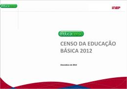 CENSO DA EDUCAÇÃO BÁSICA 2012