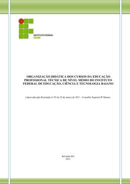 organização didática dos cursos da educação profissional técnica