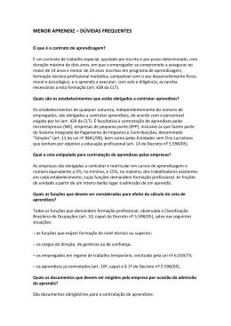 MENOR APRENDIZ – DÚVIDAS FREQUENTES - sindcon-rj
