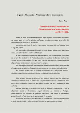 o que é a maçonaria - Escola Secundária de Alberto Sampaio