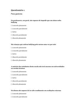 Questionário 1 Para gestores