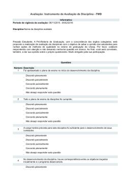Avaliação: Instrumento de Avaliação de Disciplina - FMB