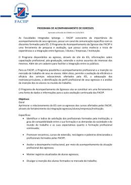 PROGRAMA DE ACOMPANHAMENTO DE EGRESSOS As