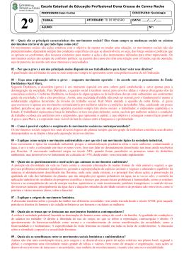 01 – Quais são as principais características dos movimentos sociais
